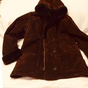 Chocolate brown suede hooded jacket